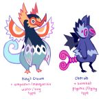 creature empoleon english fusion gen_3_pokemon gen_4_pokemon gen_5_pokemon glitchedpuppet highres kecleon masquerain no_humans pokemon pokemon_(creature) simple_background standing swoobat violet_eyes white_background white_eyes wings