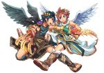 2boys black_hair blue_eyes bracer brown_hair dark_pit geetgeet kid_icarus kid_icarus_uprising male_focus multiple_boys open_mouth pit_(kid_icarus) red_eyes weapon white_background wings
