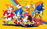 5boys armadillo blue_footwear echidna_(animal) flying flying_squirrel fox hedgehog knuckles_the_echidna metal_sonic mighty_the_armadillo multiple_boys no_humans official_style ray_the_flying_squirrel red_footwear robot running shoes simple_background smile sonic sonic_mania sonic_the_hedgehog squirrel tails_(sonic) tyler_mcgrath walking yellow_background