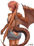 1girl ass bare_back butt_crack dragon_ears dragon_girl dragon_tail dragon_wings eyebrows_visible_through_hair grey_sweater highres hitokuirou looking_at_viewer meme_attire monster_girl naked_sweater original red_eyes redhead scales short_hair solo solo_vivace_(hitokuirou) sweater tail virgin_killer_sweater wings