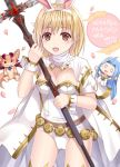 1girl :d animal animal_ears bangs blonde_hair blue_hair blush brown_eyes character_doll commentary_request copyright_name djeeta_(granblue_fantasy) dragon eyebrows_visible_through_hair fake_animal_ears granblue_fantasy hair_between_eyes hairband holding holding_weapon jacket leotard long_hair lyria_(granblue_fantasy) open_mouth rabbit_ears revision sage_(granblue_fantasy) short_sleeves smile solo strapless strapless_leotard thigh-highs translation_request tsukino_neru vee_(granblue_fantasy) weapon white_hairband white_jacket white_leotard wrist_cuffs