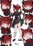 1girl :3 animal_ears artist_name black_bow black_dress black_footwear blush bow braid cat_ears cat_tail character_sheet commentary_request dress eyebrows_visible_through_hair fang fkey from_behind full_body hair_bow hand_up highres juliet_sleeves kaenbyou_rin long_sleeves looking_at_viewer mary_janes multiple_tails multiple_views neck_bow open_mouth panties panty_peek paw_pose petticoat puffy_sleeves red_bow red_eyes red_neckwear redhead shoes simple_background smile standing tail touhou twin_braids twintails two_tails underwear upper_body white_background white_panties