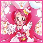 cure_whip happy long_hair pink_eyes pink_hair
