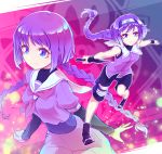1girl bare_shoulders blush boruto:_naruto_next_generations braid breasts dress kakei_sumire konohagakure_symbol kunai long_hair naruto ninja noriccho! purple_dress purple_hair sandals shorts small_breasts smile twin_braids very_long_hair violet_eyes weapon