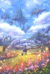 1girl blue_dress blue_hair blue_sky boots cat clouds cloudy_sky commentary_request day dress fantasy field floating_island flower from_behind hair_flower hair_ornament holding long_hair looking_at_viewer looking_back original outdoors sakimori_(hououbds) scenery sky solo standing