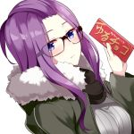 1girl bangs_pinned_back black-framed_eyewear blue_eyes blush breasts closed_mouth eyebrows_visible_through_hair glasses holding huyumitsu kagamihara_sakura large_breasts long_hair long_sleeves looking_at_viewer purple_hair ribbed_sweater solo sweater very_long_hair yurucamp