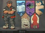 1boy arms_up baseball_cap belt black_pants black_shirt bummerdude buttons claws closed_eyes collared_shirt commentary creature crossed_arms english explosive fangs gen_1_pokemon graveler grenade grey_footwear hat horns looking_at_viewer male_focus monster muk multiple_arms open_mouth pants pinsir pocket poke_ball poke_ball_(generic) pokemon pokemon_(creature) poliwrath shirt shoes short_sleeves single_letter sleeves_rolled_up snorlax spiral standing team_rocket team_rocket_grunt team_rocket_uniform
