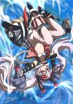 animal_ears artist_request azur_lane bra commentary_request dual_wielding fake_animal_ears flat_chest gun hair_ornament handgun highres laffey_(azur_lane) lavender_hair long_hair navel outstretched_arms pistol red_eyes remodel_(azur_lane) signature spread_arms thigh-highs twintails underwear upside-down water weapon