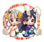 2girls animal_costume animal_ears bangs bjcrk453 blue_background blue_hair blush bunny_costume bunny_tail chibi commentary_request eyebrows_visible_through_hair grey_hair hair_between_eyes horns leg_grab long_hair looking_at_viewer love_live! love_live!_school_idol_festival love_live!_school_idol_project minami_kotori multiple_girls one_side_up open_mouth rabbit_ears sheep_costume sheep_ears sheep_horns sitting smile sonoda_umi tail thigh-highs yellow_eyes