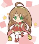 1girl ahoge arms_behind_back bangs blush boots brown_hair brown_shirt chibi closed_mouth commentary_request eyebrows_visible_through_hair full_body green_eyes hair_between_eyes hair_bobbles hair_ornament lilka_eleniak long_hair long_sleeves looking_at_viewer red_footwear red_skirt rinechun shirt skirt smile solo standing standing_on_one_leg star thigh-highs very_long_hair white_legwear wild_arms wild_arms_2 yellow_hairband