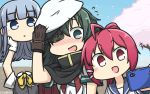 +++ 3girls :d blue_eyes blue_hair blue_sailor_collar blush brown_gloves cape cellphone cherry_blossoms dated disembodied_head eyepatch gloves green_eyes green_hair grey_vest hamu_koutarou hat hatsukaze_(kantai_collection) highres holding holding_phone i-168_(kantai_collection) kantai_collection kiso_(kantai_collection) long_hair multiple_girls neckerchief open_mouth petals phone pink_hair ponytail red_eyes red_neckwear remodel_(kantai_collection) sailor_collar sailor_hat school_uniform serafuku shirt short_hair short_sleeves smartphone smile v-shaped_eyebrows vest white_gloves white_hat white_shirt