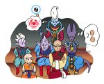 6+boys bald beerus black_hair cream crossed_arms dougi dragon_ball dragon_ball_super dragonball_z earrings egg egyptian_clothes eyelashes food fruit ice_cream jewelry kaioushin kuririn long_sleeves looking_at_another male_focus mohawk multiple_boys nervous number pointy_ears potara_earrings rou_kaioushin serious simple_background sitting staff strawberry sweatdrop tail tenshinhan thought_bubble twitter_username whis white_background wristband