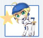 absurdres alternate_costume artoria_pendragon_(all) bangs baseball_cap belt_buckle black_belt blonde_hair blue_gloves blue_hat blue_ribbon blush braid buckle closed_mouth commentary_request excalibur eyebrows_visible_through_hair fate/stay_night fate_(series) gloves green_eyes hair_between_eyes hair_bun hair_ribbon hair_through_headwear hand_on_hilt hat highres jako_(jakoo21) leaning_to_the_side long_hair pants ribbon saber shirt shoes short_sleeves smile standing star striped striped_background striped_shirt vertical-striped_background vertical-striped_pants vertical-striped_shirt vertical_stripes very_long_hair white_footwear white_pants white_shirt