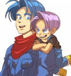2boys age_difference arm_rest black_shirt blue_eyes blue_hair boots breast_pocket carrying carrying_over_shoulder crossed_arms denim denim_jacket dragon_ball dragon_ball_super dragon_ball_super_broly dual_persona grin jacket looking_at_another looking_back multiple_boys neckerchief open_mouth overalls pocket red_neckwear shaded_face shirt short_sleeves simple_background smile tako_jirou teeth tongue trunks_(dragon_ball) trunks_(future)_(dragon_ball) upper_body upper_teeth v-shaped_eyebrows violet_eyes white_background yellow_footwear