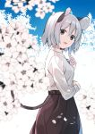 1girl adapted_costume akagashi_hagane alternate_costume animal_ears black_skirt blue_sky cherry_blossoms commentary contemporary day from_side grey_hair head_tilt highres jewelry looking_at_viewer mouse_ears mouse_tail nazrin open_mouth outdoors pendant red_eyes shirt short_hair skirt sky smile solo tail touhou white_shirt