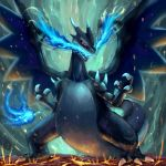 blue_eyes blue_fire charizard claws dragon fire gen_1_pokemon highres mega_charizard_x mega_pokemon no_humans pokemon pokemon_(creature) sharp_teeth teeth tesshii_(riza4828) wings