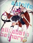 1boy 1girl astolfo_(fate) asymmetrical_horns black_bow black_ribbon blue_eyes bow braid corset curled_horns dragon_girl dragon_horns dragon_tail elizabeth_bathory_(fate) elizabeth_bathory_(fate)_(all) fang fate/apocrypha fate/extra fate/extra_ccc fate/grand_order fate_(series) garter_straps hair_intakes hair_ribbon highres horns idol long_braid long_hair looking_at_viewer male_focus multicolored_hair ookubo_rumi open_mouth pink_hair plaid plaid_skirt pointy_ears ribbon seiyuu_connection single_braid skirt smile streaked_hair tail trap tsukkaomi violet_eyes waistcoat