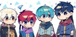artist_request blue_eyes blue_hair cape chibi fire_emblem fire_emblem:_fuuin_no_tsurugi fire_emblem:_kakusei fire_emblem:_monshou_no_nazo fire_emblem:_souen_no_kiseki fire_emblem_heroes headband highres ike looking_at_viewer male_my_unit_(fire_emblem:_kakusei) mamkute marth my_unit_(fire_emblem:_kakusei) robe roy_(fire_emblem) super_smash_bros. white_background