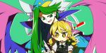 ! 2girls :d :o blonde_hair blush bow buttons eyelashes feathers green_background green_bow green_eyes green_hair green_neckwear green_ribbon hat high_collar hiseki_(tknkkm) kirisame_marisa long_hair long_sleeves looking_down mima multiple_girls no_hat no_headwear open_mouth outline pen puffy_short_sleeves puffy_sleeves ribbon shirt short_sleeves simple_background smile sun touhou touhou_(pc-98) white_outline white_ribbon wings wizard_hat writing