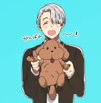 1boy ^_^ blue_background character_doll closed_eyes eyes_visible_through_hair formal hair_over_one_eye heart-shaped_mouth kyouna lanyard makkachin male_focus open_mouth silver_hair smile suit translation_request viktor_nikiforov yuri!!!_on_ice