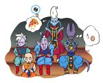 5boys bald beerus bracelet crossed_arms dougi dragon_ball dragon_ball_super dragonball_z earrings egg egyptian_clothes embarrassed expressionless eyelashes food jewelry kaioushin kuririn long_sleeves looking_at_another looking_down male_focus mohawk multiple_boys nervous number pizza pointy_ears potara_earrings rou_kaioushin simple_background sitting sparkle staff sweatdrop thought_bubble twitter_username whis white_background white_hair wristband
