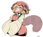 1girl :d aki_minoriko anchors artist_name bangs blonde_hair blush breasts closed_eyes collared_shirt dress eyebrows eyebrows_visible_through_hair food fruit grapes hat hat_leaf highres leaf long_sleeves medium_breasts open_mouth orange_dress orange_hat orange_shirt raccoon_tail ribbon shirt short_hair simple_background smile solo tail touhou undershirt white_background wide_sleeves yellow_shirt