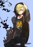1boy animal_print blonde_hair green_eyes hair_over_one_eye highres hood hoodie kyouna leopard_print male_focus sitting stuffed_animal stuffed_cat stuffed_toy yuri!!!_on_ice yuri_plisetsky