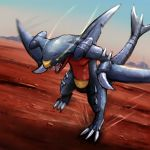 claws desert dragon garchomp gen_4_pokemon highres no_humans pokemon pokemon_(creature) sharp_teeth solo teeth tesshii_(riza4828)
