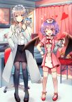 2girls :d alternate_costume ankle_ribbon arms_up basket black_footwear black_legwear black_skirt blue_eyes blurry blurry_background blush book braid caduceus chair character_doll cirno commentary_request curtains desk dress emphasis_lines eyebrows_visible_through_hair fangs flandre_scarlet full_body hair_between_eyes hand_in_pocket hand_on_hip hat heart hong_meiling izayoi_sakuya kirero labcoat looking_at_viewer maid_headdress mask monitor mouth_mask multiple_girls name_tag nurse_cap office_chair one_eye_closed open_mouth oversized_object pantyhose partial_commentary pencil_skirt pink_dress pink_legwear pointy_ears poster_(object) purple_hair red_eyes red_footwear remilia_scarlet ribbon shirt short_hair silver_hair skin_fangs skirt smile sparkle standing stethoscope surgical_mask syringe thigh-highs touhou twin_braids two-tone_dress watch watch white_shirt wrist_cuffs zettai_ryouiki