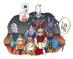 6+boys bald beard beerus dougi dragon_ball dragon_ball_super dragonball_z drooling earrings egg facial_hair food jewelry kaioushin kuririn looking_at_another looking_away male_focus mohawk multiple_boys muten_roushi nervous noodles number pointy_ears potara_earrings ramen rou_kaioushin serious simple_background sitting sparkle staff sweatdrop tenshinhan thought_bubble twitter_username whis white_background white_hair wristband