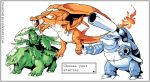 blastoise charizard claws creature dragon english fangs fiery_tail fire flower flying from_side grey_border mega_blastoise mega_charizard_y mega_venusaur multiple_monochrome no_humans pokemon pokemon_(creature) profile tongue tree twarda8 venusaur watermark web_address