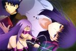 1boy 2girls black_dress black_shirt blindfold blue_eyes blue_hair book breasts brown_background brown_jacket chains choker cleavage collared_dress detached_sleeves dress facial_mark fate/stay_night fate_(series) forehead_mark hair_ribbon heaven's_feel highres holding holding_book holding_weapon impossible_clothes impossible_dress jacket large_breasts lavender_hair long_hair magazine_request matou_sakura matou_shinji medusa_(fate) medusa_(fate)_(all) multiple_girls official_art pink_ribbon purple_choker purple_hair ribbon rider scan shimabukuro_ricardo shirt smirk strapless strapless_dress violet_eyes weapon weapon_request white_dress