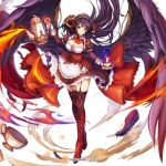 amon_(kami_project) artist_request black_hair black_wings blowing boots breasts bustier cleavage cleavage_cutout company_name cup demon_girl demon_horns dmm dust_cloud fire flowing_dress garter_straps gloves high_heel_boots high_heels horns kami_project large_breasts maid official_art tea_kettle teacup thigh-highs white_background wings yellow_eyes