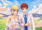 1boy 1girl ahoge artoria_pendragon_(all) blue_vest bouquet bow braid brown_eyes choker commentary dress elbow_gloves emiya_shirou excalibur fate/stay_night fate_(series) fateline_alpha flower formal gloves hair_bow husband_and_wife locked_arms redhead saber short_hair smile suit vest wedding_dress white_bow white_suit
