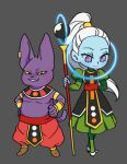 1boy 1girl arm_behind_back champa_(dragon_ball) dragon_ball dragon_ball_super dress egyptian_clothes grey_background grin hachibani hands_on_hips high_heels high_ponytail long_hair looking_at_viewer lowres shoes simple_background smile staff vados_(dragon_ball) violet_eyes white_footwear white_hair wristband yellow_sclera
