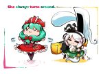2girls :3 =_= blush_stickers boots bow dress front_ponytail green_hair hair_bow hair_ribbon hairband huge_weapon kagiyama_hina kashuu_(b-q) konpaku_youmu konpaku_youmu_(ghost) long_hair multiple_girls ribbon short_hair sword touhou weapon white_hair