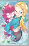 2girls blonde_hair blue_eyes blush fang hug looking_at_viewer mipha monster_girl multiple_girls one_eye_closed open_mouth partially_submerged petting phibonnachee pointy_ears princess_zelda shocked_eyes smile the_legend_of_zelda the_legend_of_zelda:_breath_of_the_wild water wide-eyed zora