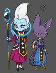 2boys animal_ears beerus blue_skin cat_ears cat_tail chibi dragon_ball dragon_ball_super ears egyptian_clothes grey_background hachibani hand_on_hip lowres male_focus multiple_boys purple_skin simple_background tail violet_eyes whis white_hair yellow_sclera