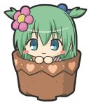 1girl bangs blue_eyes blush_stickers chibi commentary_request emil_chronicle_online eyebrows_visible_through_hair flower green_hair hair_between_eyes hair_flower hair_ornament heart in_container in_pot looking_at_viewer pink_flower rinechun shabotan_alma simple_background solo two_side_up white_background