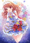 1girl aikatsu! aikatsu!_(series) birthday crown earrings elbow_gloves flower gloves happy_birthday highres jewelry long_hair oozora_akari orange_hair petals pink_eyes puracotte red_ribbon ribbon rose signature solo