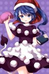1girl black_dress blob blue_eyes blue_hair blush book breasts commentary_request cowboy_shot doremy_sweet dress eyebrows_visible_through_hair hand_up hat highres holding holding_book looking_at_viewer medium_breasts multicolored multicolored_clothes multicolored_dress one_side_up parted_lips polka_dot polka_dot_background pom_pom_(clothes) purple_background ruu_(tksymkw) santa_hat short_hair short_sleeves smile solo standing tail tapir_tail touhou white_dress