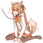 1girl animal_ears brown_hair collar dog_ears dog_tail etou_kanami fang kemonomimi_mode leash open_mouth short_hair solo tail tail_wagging toji_no_miko