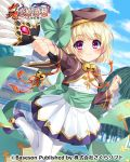 1girl bell bibyo blonde_hair bow brown_jacket building clouds copyright_name cropped_jacket dress feather_fan gem hat holding jacket jingle_bell koihime_musou leg_lift mary_janes obi official_art outdoors outstretched_arm pantyhose red_eyes ribbon sash shoes shokatsuryou short_hair sky smile solo standing standing_on_one_leg white_dress white_legwear