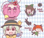 4girls :3 :d =d animal animal_ears bangs bird bird_wings black_eyes black_wings blunt_bangs bow braid brown_hair c: cape cat cat_ears cat_tail character_name chibi closed_eyes closed_mouth dress extra_ears full_body green_bow green_hair hair_between_eyes hair_bow hairband hand_up hands_up hat heart kaenbyou_rin kaenbyou_rin_(cat) long_hair long_sleeves looking_at_viewer multiple_girls multiple_tails nekomata noai_nioshi open_mouth outstretched_arms pink_hair pointy_ears puffy_short_sleeves puffy_sleeves red_eyes reiuji_utsuho reiuji_utsuho_(bird) shirt short_hair short_sleeves skirt slit_pupils smile starry_sky_print tail third_eye touhou twin_braids two_tails upper_body upside-down violet_eyes walking wings |_|