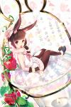 1girl animal_ears bangs black_footwear black_gloves blunt_bangs blush brown_hair brown_legwear candy easter eyebrows_visible_through_hair food fruit full_body fur_trim gloves hat highres leaf lollipop looking_at_viewer mayuzaki_yuu neckerchief open_mouth original pantyhose pink_neckwear plant pom_pom_(clothes) rabbit_ears red_eyes sailor_collar shirt short_hair sitting skirt sleeveless sleeveless_shirt solo strawberry vines white_shirt white_skirt