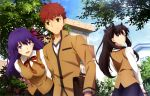 1boy 2girls bag black_hair black_ribbon black_skirt blue_eyes blush breasts brown_bag brown_jacket brown_pants brown_vest building clouds cross_print day emiya_shirou fate/stay_night fate_(series) flower flower_request hair_ribbon heaven's_feel highres homurahara_academy_uniform house jacket large_breasts long_hair looking_at_another looking_back magazine_request matou_sakura multiple_girls neck_ribbon official_art open_mouth outdoors pants pink_flower pink_ribbon print_neckwear print_ribbon purple_hair raglan_sleeves red_neckwear red_ribbon ribbon satou_tetsuhito scan school_uniform shirt skirt sky smile tohsaka_rin tree twintails vest violet_eyes white_shirt window