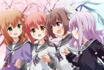 4girls :d :o bangs black_cardigan blue_eyes blue_sky blurry blurry_background blush brown_eyes brown_hair cardigan cherry_blossoms colored_eyelashes commentary_request day depth_of_field eyebrows_visible_through_hair fang fingernails green_eyes grey_neckwear grey_sailor_collar hair_between_eyes hair_ornament hairclip hand_holding highres ichinose_hana light_brown_hair long_hair long_sleeves momochi_tamate mousou_(mousou_temporary) multiple_girls one_side_up open_mouth outdoors parted_lips petals purple_cardigan purple_hair sailor_collar school_uniform sengoku_kamuri serafuku shirt sky slow_start smile tokura_eiko twintails very_long_hair violet_eyes white_shirt