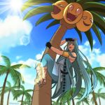 alolan_exeggutor alolan_form aqua_hair beach blue_sky chiyoganemaru climbing clouds cloudy_sky day eriyama gen_7_pokemon japanese_clothes lens_flare long_hair looking_at_viewer male_focus outdoors palm_tree pokemon pokemon_(creature) sandals sky smile touken_ranbu tree very_long_hair