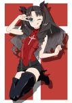 akitetsu black black_hair blue_eyes boots fate/extra fate/stay_night fate_(series) footwear full_body high_heel_boots high_heels long_hair ribbon skirt sweater thigh-highs tohsaka_rin tongue tongue_out two_side_up v