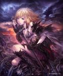 1girl armor armored_boots asymmetrical_clothes battlefield blonde_hair blue_eyes boots bracer clouds cloudy_sky commentary_request copyright_name cygames dark_jeanne gloves highres hisakata_souji holding holding_sword holding_weapon looking_at_viewer shadowverse shingeki_no_bahamut skeleton sky sword torn_clothes weapon
